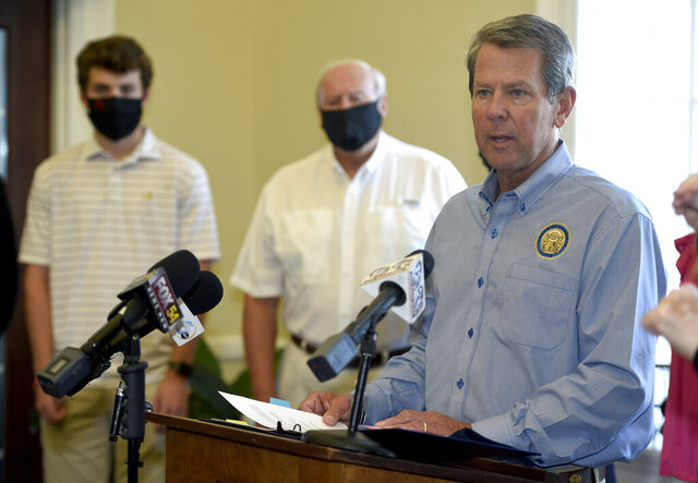 Georgia Gov. Brian Kemp speaks during a stop on his fly-around tour to encourage Georgians to stop the spread of COVID-19 in Augusta, Ga., Friday, Sept. 4, 2020. (Michael Holahan/The Augusta Chronicle via AP)