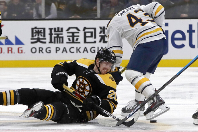 Boston Bruins center Joakim Nordstrom (20) competes for the puck against Buffalo Sabres left wing Conor Sheary (43) during the first period of an NHL hockey game Thursday, Nov. 21, 2019, in Boston. (AP Photo/Elise Amendola)