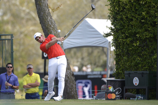 FILE - Sam Horsfield, of England, tees off on the ninth fairway during the final round of the Arnold Palmer Invitational golf tournament Sunday, March 10, 2019, in Orlando, Fla. Horsfield withdrew from this week's U.S. Open at Winged Foot after a positive test for the coronavirus. (AP Photo/Phelan M. Ebenhack, File)