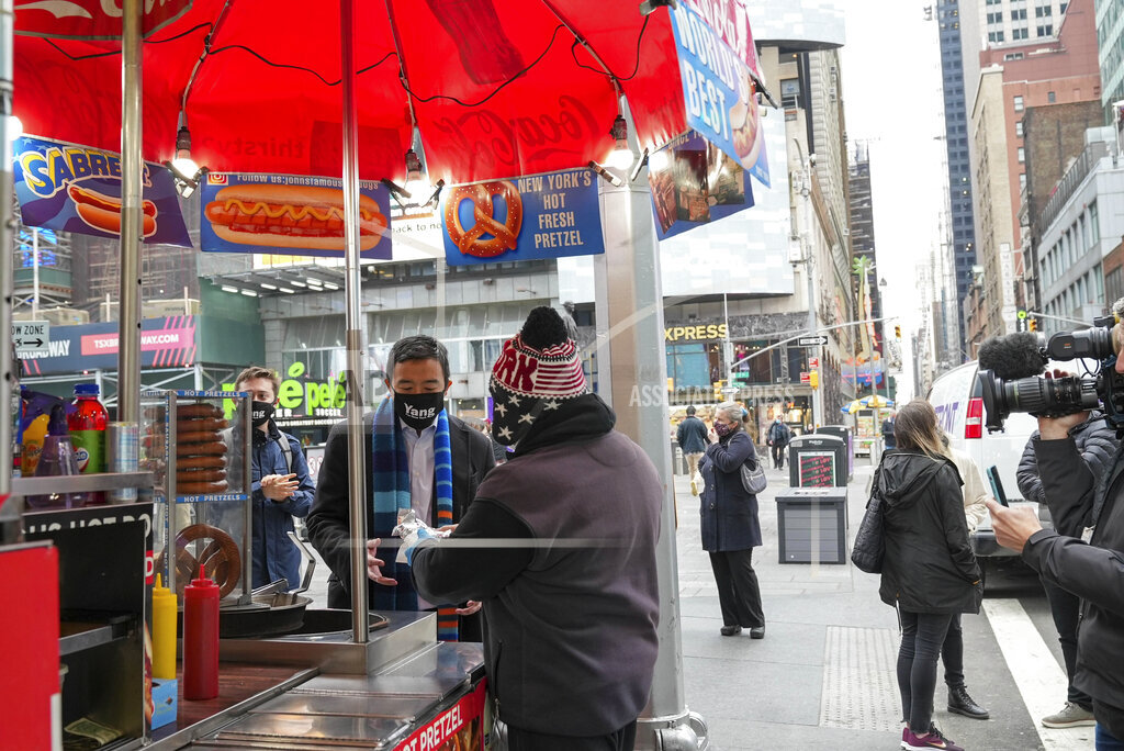 Andrew Yang visits Times Square in New York City