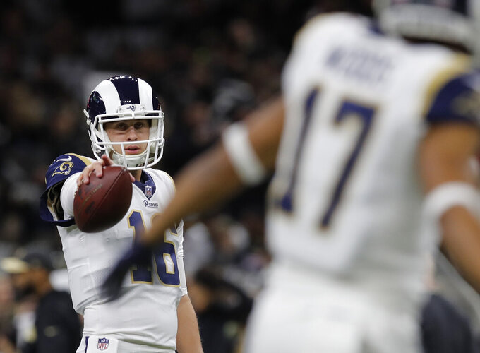 Los Angeles Rams' Jared Goff warms up before the NFL football NFC championship game against the New Orleans Saints Sunday, Jan. 20, 2019, in New Orleans.(AP Photo/Carolyn Kaster)