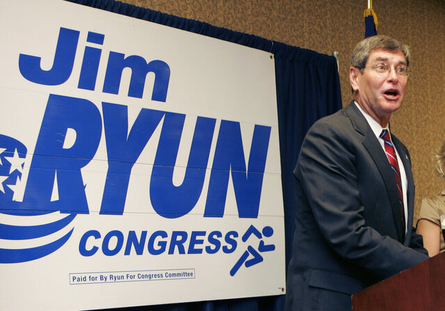 FILE - In this Aug. 6, 2008 file photo, former congressman Jim Ryun speaks to supporters during an election watch party in Topeka, Kan. Ryun announced the race too close to call. President Donald Trump is awarding the nation's highest civilian honor to Jim Ryun, a former Kansas congressmen who was the first high school runner to clock a mile in under 4 minutes. Trump is scheduled to honor the three-time Olympian with the Presidential Medal of Freedom at the White House on Friday. (AP Photo/Orlin Wagner)