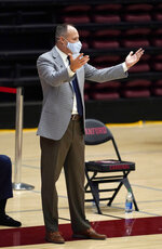 California head coach Mark Fox gestures during the first half of an NCAA college basketball game against Stanford in Stanford, Calif., Sunday, Feb. 7, 2021. (AP Photo/Tony Avelar)