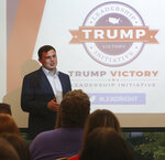 Seth Kellner, president of Kent State University's College Republicans greets students during a Trump Victory voter registration training at the University of Akron Student Union in Akron, Ohio, on Monday Sept. 16, 2019. The Republican National Committee and President Donald Trump's re-election campaign are rolling out an effort to register young voters and mobilize supporters on college campuses. The