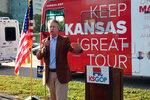 U.S. Rep. Roger Marshall, R-Kan., the Republican nominee for an open U.S. Senate seat in Kansas, speaks during a stop in a GOP bus tour of the state, Tuesday, Oct. 6, 2020, in Topeka, Kan. Asked about President Donald Trump's tweet after being treated for coronavirus that people should not fear COVID-19, Marshall told reporters,