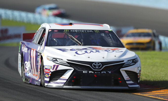 Denny Hamlin (11) finished third at the NASCAR Cup Series auto race at Watkins Glen International, Sunday, Aug. 4, 2019, in Watkins Glen, N.Y. (AP Photo/John Munson)