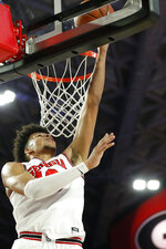 Georgia's Toumani Camara shoots against Arkansas during an NCAA college basketball in Athens, Ga., Saturday, Feb. 29, 2020. Georgia won 99-89. (Joshua L. Jones/Athens Banner-Herald via AP)