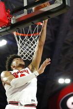 Georgia's Toumani Camara shoots against Arkansas during an NCAA college basketball in Athens, Ga., Saturday, Feb. 29, 2020. Georgia won 99-89. (Joshua L. Jones/Athens Banner-Herald via AP)