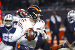 Chicago Bears quarterback Mitchell Trubisky (10) throws during the first half of an NFL football game against the Dallas Cowboys, Thursday, Dec. 5, 2019, in Chicago. (AP Photo/Charles Rex Arbogast)