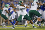Eastern Michigan quarterback Mike Glass III (9) throws the ball during the first half of an NCAA college football game between Kentucky and Eastern Michigan, Saturday, Sept. 7, 2019, in Lexington, Ky. (AP Photo/Bryan Woolston)