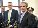 Worcester District Attorney Joseph D. Early Jr. announces an arrest in the death of Firefighter Christopher Roy during a news conference in Worcester Superior Court Friday March 15, 2019. (Ashley Green/Worcester Telegram & Gazette via AP)