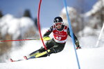 Luke Winters, of the United States, competes during an alpine ski, men's World Cup slalom in Val d' Isere, France, Sunday, Dec. 15, 2019. (AP Photo/Gabriele Facciotti)