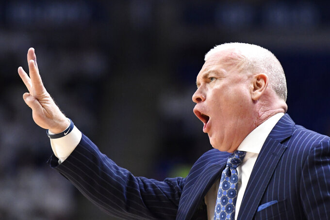 Penn State coach Patrick Chambers gestures during the first half of the team's NCAA college basketball game against Michigan State, Tuesday, March 3, 2020, in State College, Pa. (AP Photo/John Beale)