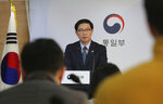 South Korean Vice Unification Minister Chun Hae-sung speaks during a press conference at the Unification Ministry in Seoul, South Korea, Friday, March 22, 2019. North Korea abruptly withdrew its staff from an inter-Korean liaison office in the North on Friday, Seoul officials said. (AP Photo/Ahn Young-joon)