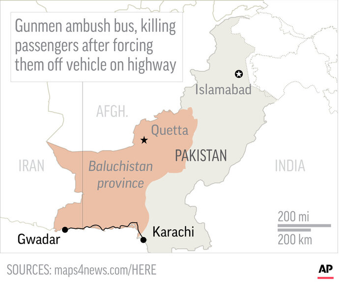 Map locates southwest area in Pakistan where authorities say gunmen ambushed a bus and killed 14 passengers; 2c x 2 1/2 inches; 96.3 mm x 63 mm;
