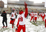 Utah defensive back Javelin K. Guidry gestures to fans after an NCAA college football game against Colorado, Saturday, Nov. 17, 2018, in Boulder, Colo. Utah won 30-7. (AP Photo/David Zalubowski)