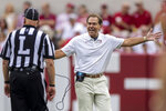 Alabama head coach Nick Saban argues a call during the second half of an NCAA college football game against Mississippi, Saturday, Oct. 2, 2021, in Tuscaloosa, Ala. (AP Photo/Vasha Hunt)