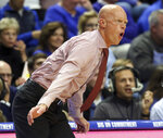Eastern Kentucky coach A.W. Hamilton directs his team during the first half of an NCAA college basketball game against Kentucky in Lexington, Ky., Friday, Nov. 8, 2019. (AP Photo/James Crisp)
