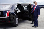 President Donald Trump waves as he arrives at West Palm Beach International Airport, Tuesday, Sept. 8, 2020, in West Palm Beach, Fla. (AP Photo/Evan Vucci)