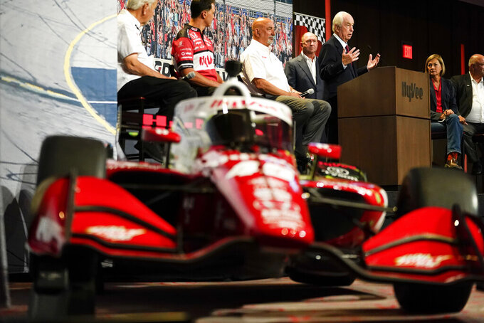Roger Penske speaks during a news conference at Hy-Vee Corp. headquarters, Thursday, Aug. 19, 2021, in West Des Moines, Iowa. IndyCar will return next season to Iowa Speedway, a short oval track beloved by fans and drivers that had fallen off the schedule after 14 years. The track located in Newton will host a doubleheader next July in a deal brokered between IndyCar Series owner Roger Penske, team owner Bobby Rahal and grocery chain Hy-Vee. (AP Photo/Charlie Neibergall)