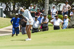 Nelly Korda hits to the fifth green during the second round of the LPGA's Lotte Championship golf tournament Thursday, April 18, 2019, in Kapolei, Hawaii. (Craig T. Kojima/Honolulu Star-Advertiser via AP)