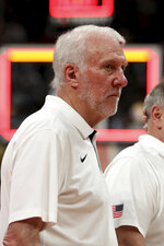 United States' coach Gregg Popovich looks on after a consolation playoff game against Poland for the FIBA Basketball World Cup at the Cadillac Arena in Beijing on Saturday, Sept. 14, 2019. U.S. defeated Poland 87-74 (AP Photo/Ng Han Guan)