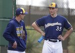 Milwaukee Brewers' Craig Counsell talks to Brent Suter during a spring training baseball workout Sunday, Feb. 17, 2019, in Phoenix. (AP Photo/Morry Gash)