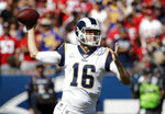 Los Angeles Rams quarterback Jared Goff throws against the San Francisco 49ers during the first half of an NFL football game Sunday, Oct. 13, 2019, in Los Angeles. (AP Photo/Alex Gallardo)