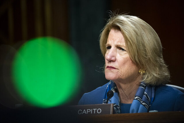 FILE - In this May 20, 2020 file photo Sen. Shelley Moore Capito, R-W.Va., speaks during a Senate Environment and Public Works Committee oversight hearing on Capitol Hill in Washington. Capito is seeking her second six-year term in the Senate and faces two challengers in the Republican primary next Tuesday, June 9, 2020. (Al Drago/Pool via AP)