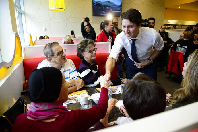 Liberal leader Justin Trudeau makes a campaign stop in Terrebonne, Quebec on Thursday Oct. 17, 2019. (Sean Kilpatrick/The Canadian Press via AP)