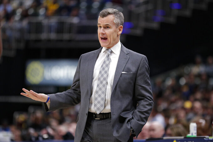 Oklahoma City Thunder coach Billy Donovan questions a call during the second half of the team's NBA basketball game against the Indiana Pacers in Indianapolis, Tuesday, Nov. 12, 2019. The Pacers won 111-85. (AP Photo/Michael Conroy)