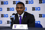 Northwestern running back Cam Porter talks to reporters during an NCAA college football news conference at the Big Ten Conference media days, Thursday, July 22, 2021, at Lucas Oil Stadium in Indianapolis. (AP Photo/Doug McSchooler)