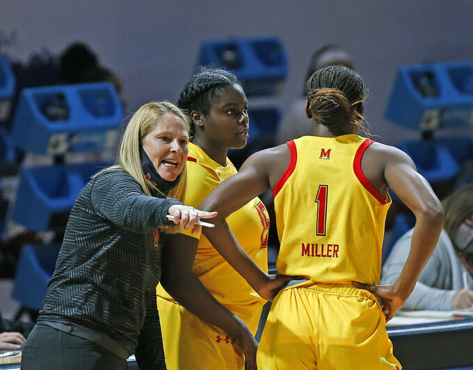 Maryland head coach Brenda Sue Frese instructs guards Ashley Owusu (15) and Diamond Miller (1) during the second half of a college basketball game against Alabama in the second round of the women's NCAA tournament at the Greehey Arena in San Antonio on Wednesday, March 24, 2021. Maryland defeated Alabama 100-64. (AP Photo/Ronald Cortes)