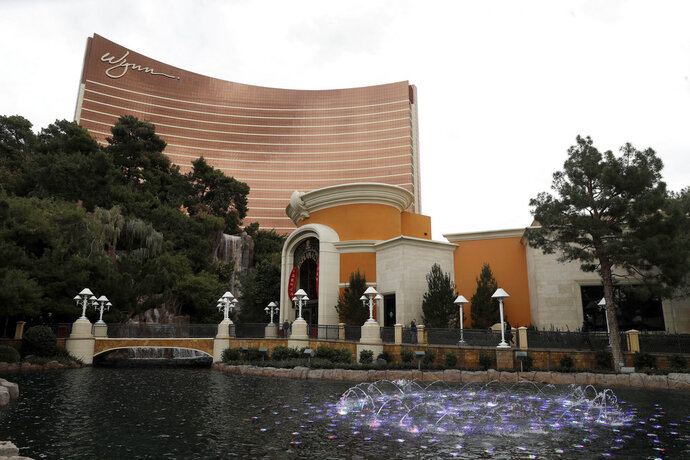 FILE - In this Feb. 19, 2018, file photo, Wynn Las Vegas is pictured in Las Vegas. The chairwoman of the internal committee of Wynn Resorts looking into the sexual misconduct allegations leveled against the casino operator's founder said Wednesday, May 16, 2018, more than 100 people have been interviewed in the investigation. (AP Photo/Isaac Brekken, File)