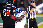New York Giants' Jabrill Peppers reacts after a tackle during the first half of an NFL football game against the Philadelphia Eagles, Thursday, Oct. 22, 2020, in Philadelphia. (AP Photo/Chris Szagola)