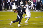 Philadelphia Eagles' Jalen Hurts scrambles during the first half of an NFL football game against the New Orleans Saints, Sunday, Dec. 13, 2020, in Philadelphia. (AP Photo/Chris Szagola)