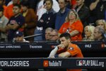 Houston Astros' Alex Bregman watches during the eighth inning of Game 7 of the baseball World Series against the Washington Nationals Wednesday, Oct. 30, 2019, in Houston. (AP Photo/Matt Slocum)