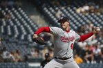 Washington Nationals starter Patrick Corbin pitches in the first inning during a baseball game against the Washington Nationals, Sunday, Sept. 12, 2021, in Pittsburgh. (AP Photo/Rebecca Droke)