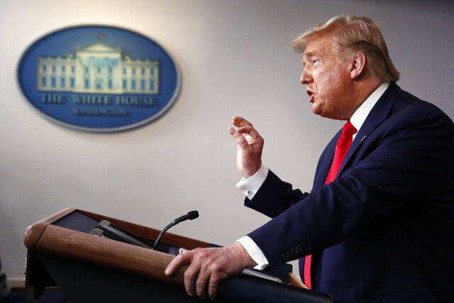 President Donald Trump speaks about the coronavirus in the James Brady Briefing Room, Thursday, March 26, 2020, in Washington. (AP Photo/Alex Brandon)