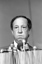 FILE - In this Jan. 23, 1981, file photo, National Football League Commissioner Pete Rozelle listens to a reporters question about Rozelle's running battle with Oakland Raiders general managing partner Al Davis, in New Orleans. When director Ken Rodgers decided to do a documentary looking back on the battles between late Raiders owner Al Davis and late NFL commissioner Pete Rozelle he decided he wanted to tell the stories from their perspectives. (AP Photo/Foley, File)