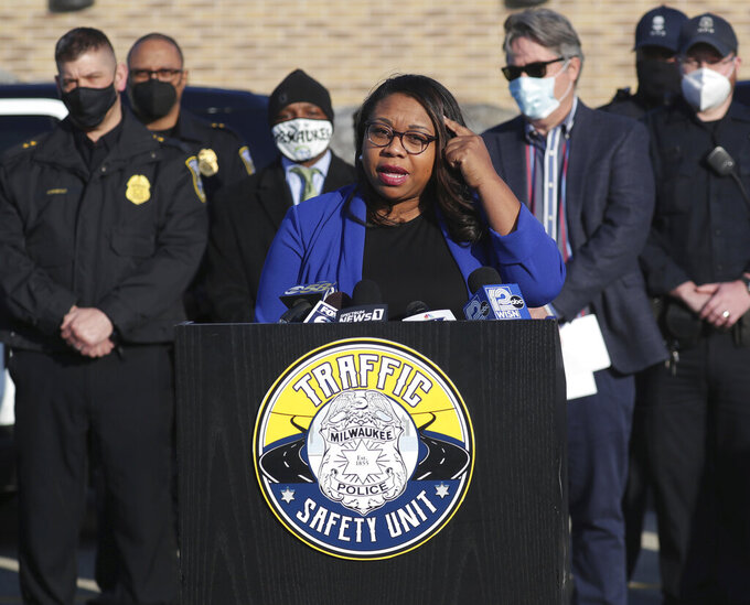 FILE - In this March 3, 2021 file photo, Alderwoman Chantia Lewis speaks during a press conference in Milwaukee. Lewis, a minister, member of the Milwaukee City Council and a Democratic candidate for U.S. Senate, was charged Tuesday, Sept. 7, 2021, with four felonies and one misdemeanor for allegedly stealing at least $21,000 from her campaign fund and then lying about it. (Mike De Sisti/Milwaukee Journal-Sentinel via AP File)