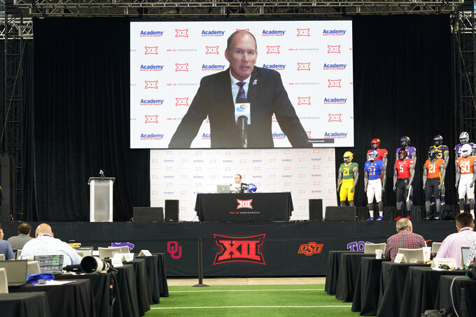 Kansas head coach Lance Leipold, top, speaks to reporters via teleconference during the NCAA college football Big 12 media days Thursday, July 15, 2021, in Arlington, Texas. Kansas was unable to make the trip due to weather. (AP Photo/LM Otero)