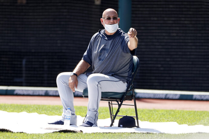 Cleveland Indians manager Terry Francona watches during baseball practice at Progressive Field, Monday, July 6, 2020, in Cleveland. (AP Photo/Ron Schwane)