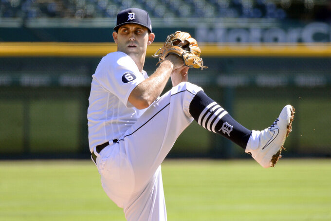 Detroit Tigers starting pitcher Matthew Boyd throws against the Cleveland Indians in the first inning of a baseball game, Sunday, Sept. 20, 2020, in Detroit. (AP Photo/Jose Juarez)