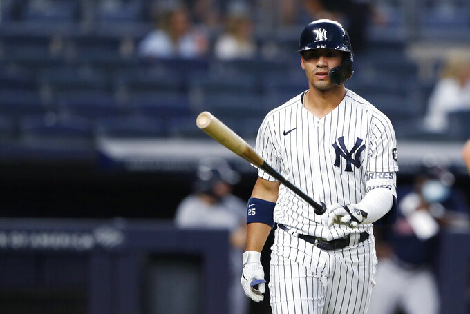 New York Yankees; Gleyber Torres tosses his bat after hitting a home run against the Boston Red Sox during the fourth inning of a baseball game Saturday, June 5, 2021, in New York. (AP Photo/Noah K. Murray)