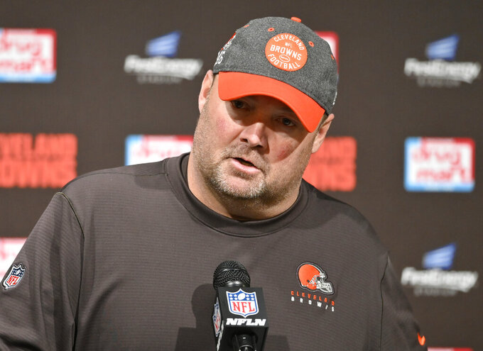 Cleveland Browns head coach Freddie Kitchens answers questions after an NFL football game against the Cincinnati Bengals, Sunday, Dec. 8, 2019, in Cleveland. The Browns won 27-19. (AP Photo/David Richard)