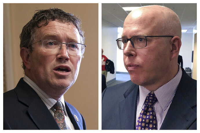 This combination of 2019 file photos shows U.S. Rep. Thomas Massie, R-Ky., left, in Washington, and GOP challenger Todd McMurtry in Frankfort, Ky. Kentuckians are accustomed to bare-knuckled politics, but the Bluegrass State brawl between a Republican congressman and his primary challenger has turned especially ugly. Massie and McMurtry have battered each other in the conservative 4th District along Kentucky's northern tier. The winner of the June 23 primary will be a prohibitive favorite to keep the seat Republican in November.  (AP Photo/J. Scott Applewhite, Adam Beam)