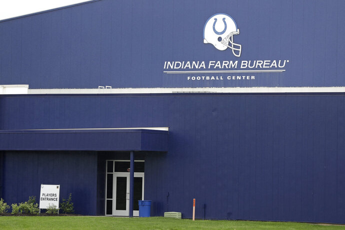 This is the players entrance of the Indianapolis Colts training facility, Tuesday, May 19, 2020, in Indianapolis. Coaching staffs and all players except those undergoing injury rehabilitation are barred from the facilities in the first phase of the league's plan. (AP Photo/Darron Cummings)