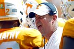 Tennessee head coach Jeremy Pruitt yells at his players in the first half of an NCAA college football game against UTEP, Saturday, Sept. 15, 2018, in Knoxville, Tenn. (AP Photo/Wade Payne)