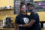 Catrice and Jakyra Hixon, owners of Melanin Cafe in Opelika, Ala., strive to serve up great coffee and a peaceful environment. (Abbey Crank/Opelika-Auburn News via AP)